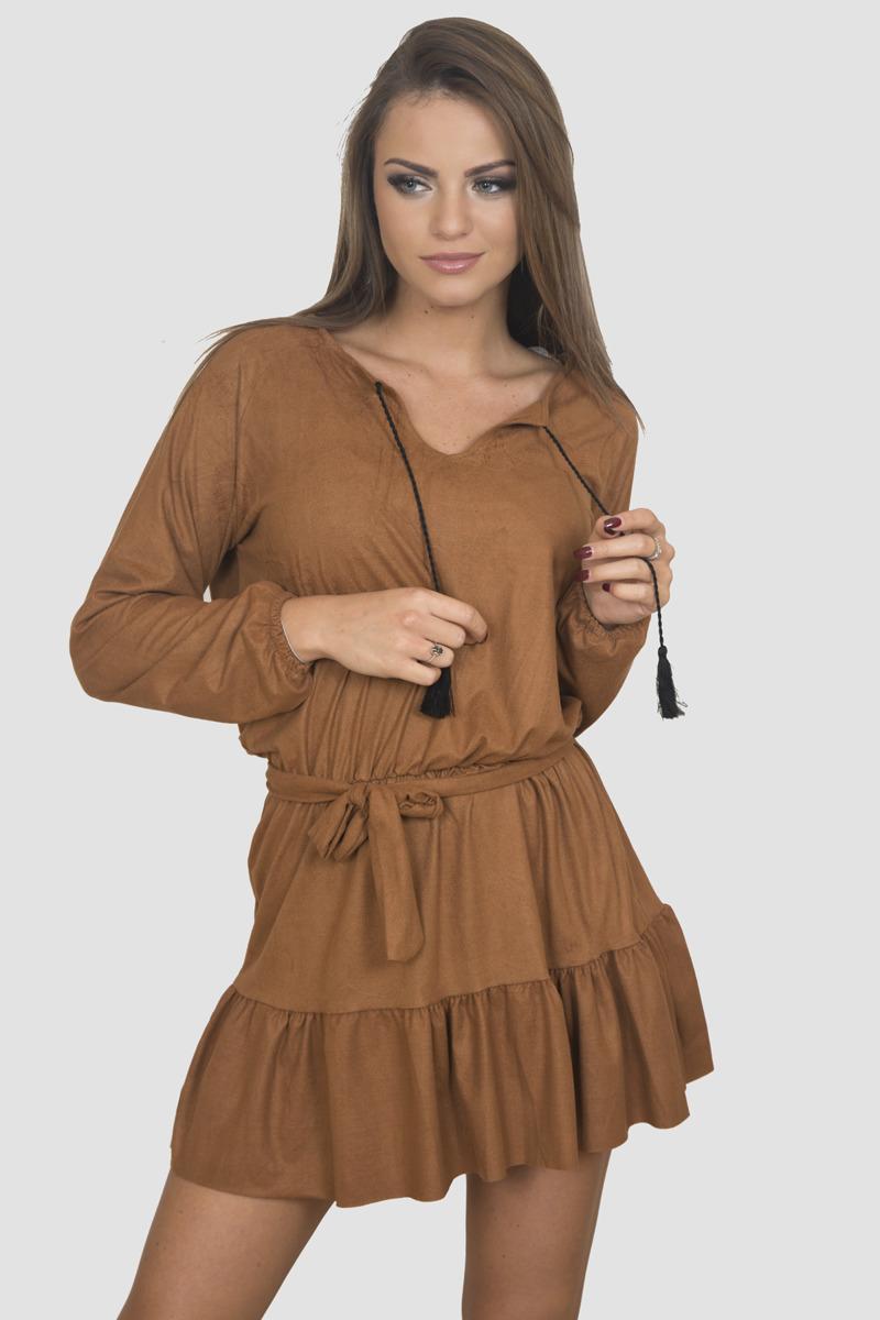 Šaty s viazaním v páse a na krku - hnedé  242e5f3a839
